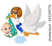 Stork With Baby Cartoon