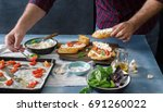 man preparing an italian...   Shutterstock . vector #691260022