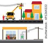 electric technician repair the... | Shutterstock .eps vector #691264222