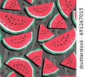 juicy watermelons   trendy... | Shutterstock .eps vector #691267015