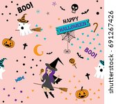 happy halloween seamless... | Shutterstock .eps vector #691267426