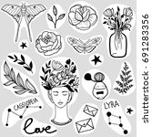 set of black and white stickers.... | Shutterstock .eps vector #691283356