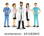 group of doctors in a hospital  ... | Shutterstock .eps vector #691283842