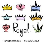 hand drawn crowns logo and icon ... | Shutterstock .eps vector #691290265