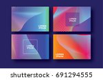 Set of 4 Trendy Colorful Gradient Future Geometric Shapes Covers template. Minimal gorizontal geometry halftone design for banners, flyers, invitation, posters, brochure, voucher discount. Vector