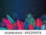 trendy summer sale template... | Shutterstock .eps vector #691294576