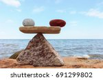 symbol of scales with red and... | Shutterstock . vector #691299802