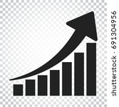 growth chart icon. grow diagram ... | Shutterstock .eps vector #691304956