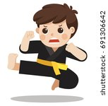 a cute boy showing his karate... | Shutterstock .eps vector #691306642