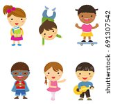 group of children collection | Shutterstock .eps vector #691307542