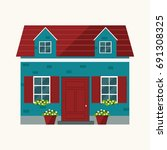 house illustration. country... | Shutterstock .eps vector #691308325
