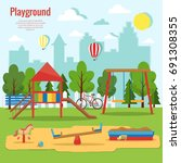 children's playground vector... | Shutterstock .eps vector #691308355