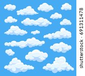 Cartoon clouds isolated on blue sky panorama vector collection. Cloudscape in blue sky, white cloud illustration - stock vector