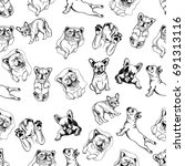 seamless pattern of hand drawn...   Shutterstock .eps vector #691313116