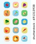 a large set of icons of a... | Shutterstock .eps vector #691313938
