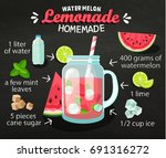 recipe of homemade watermelon... | Shutterstock . vector #691316272