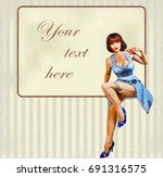 sexy pin up girl with vintage... | Shutterstock .eps vector #691316575