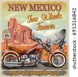vintage route 66 new mexico... | Shutterstock .eps vector #691316842
