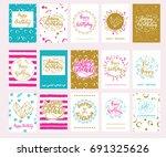 set of 15 vector birthday cards. | Shutterstock .eps vector #691325626