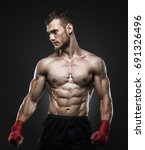mma fighter got ready for the... | Shutterstock . vector #691326496