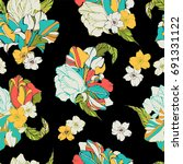tropical seamless pattern with... | Shutterstock .eps vector #691331122