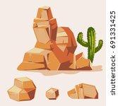 Set Of Desert Rocks. Cartoon...