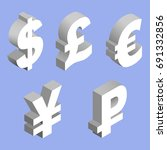 isometric set of currency... | Shutterstock . vector #691332856