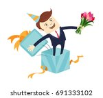 funny male character wearing... | Shutterstock .eps vector #691333102