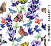 wildflower lavender flower... | Shutterstock . vector #691334446