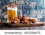 buffalo style chicken wings... | Shutterstock . vector #691336675