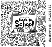 welcome back to school poster... | Shutterstock .eps vector #691338382