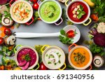 variety of colorful vegetables... | Shutterstock . vector #691340956