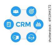 crm icons  customer...   Shutterstock .eps vector #691344172