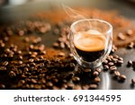 espresso smoke | Shutterstock . vector #691344595
