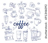 doodle set of coffee   beans ...   Shutterstock .eps vector #691346092
