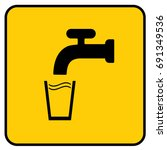 drinking water sign yellow.... | Shutterstock .eps vector #691349536