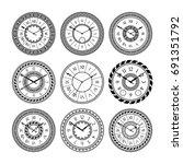 antique clocks isolate on white.... | Shutterstock .eps vector #691351792