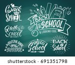 vintage emblem set for school... | Shutterstock .eps vector #691351798