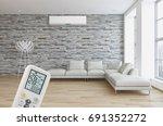 modern bright living room... | Shutterstock . vector #691352272