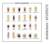 beer glassware guide  colored... | Shutterstock .eps vector #691355272