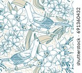 vector floral seamless pattern... | Shutterstock .eps vector #691360432