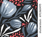 vector floral seamless pattern... | Shutterstock .eps vector #691360495