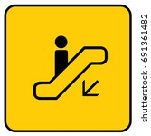 escalator down sign yellow.... | Shutterstock .eps vector #691361482