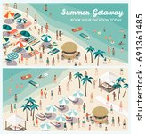 crowded tropical beach resort... | Shutterstock .eps vector #691361485