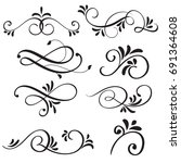 art calligraphy flourish of vintage decorative whorls for design. Vector illustration
