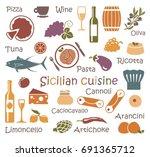 the set of symbols of sicilian...   Shutterstock .eps vector #691365712