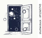 open door in universe tattoo.... | Shutterstock .eps vector #691365745