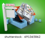 3d illustration of block house... | Shutterstock . vector #691365862