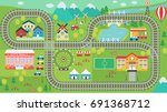 lovely city landscape hd train... | Shutterstock .eps vector #691368712