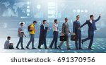 business concept with man... | Shutterstock . vector #691370956